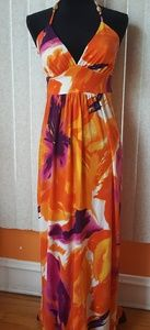 Lucy & Laurel Orange Hawaiian Theme Maxi Dress